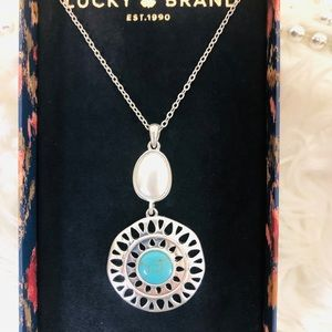 Lucky Brand Silver Tone Turquoise Necklace